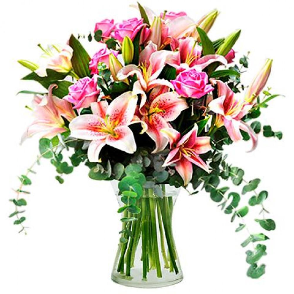 Λίλιουμ-ροζ τριαντάφυλλα